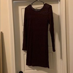 Long sleeved eggplant purple dress